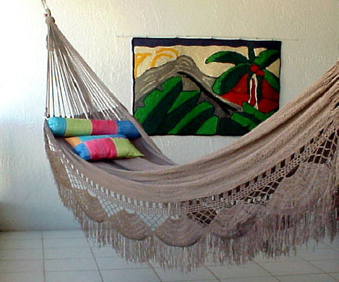 FAMILY HAMMOCK - Large Sprang-Weave Nicamaka UMBER  (Back Order Only)