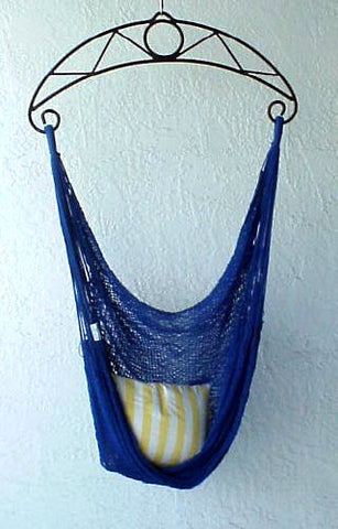 """Granada 34 Chair"" - ROYAL-BLUE Sprang-Woven Seat - Hammock Chair"