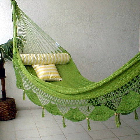 HAMMOCK COUPLES PALM - Green & Yellow Sprang Weave Nicamaka (Back Order)