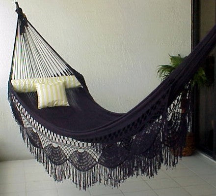 FAMILY HAMMOCK - Large Sprang-Woven Nicamaka - BLACK  (Back Order Only)
