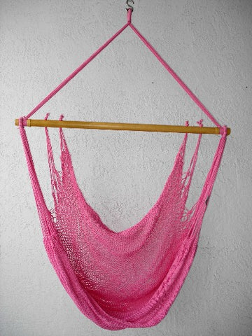 """Mombacho Chair"" - PINK Sprang-Woven Seat - Hammock Chair"