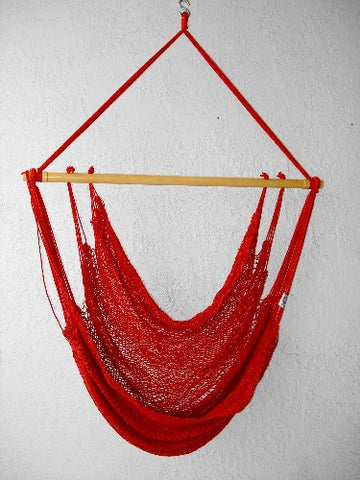 """Mombacho Chair"" - TOMATO (Red & Orange) Sprang-Woven Seat - Hammock Chair"