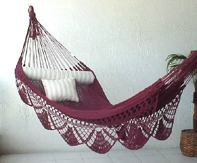 Nicamaka SINGLE Sprang-Woven Hammock - BURGUNDY