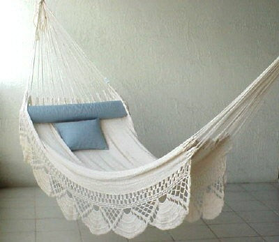 Nicamaka SINGLE Sprang-Woven Hammock - ECRU