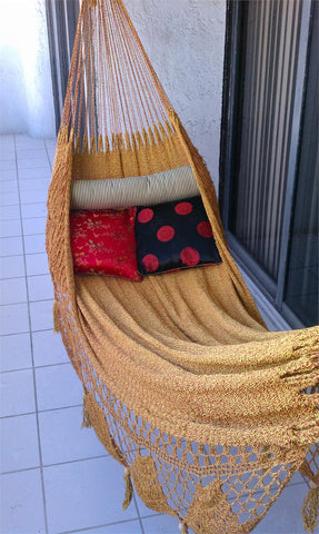 Nicamaka GOLDEN Couples Hammock- Sprang Weave Beauty & Comfort