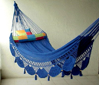 Nicamaka Royal Blue Couples Hammock - Sprang Weave Comfort