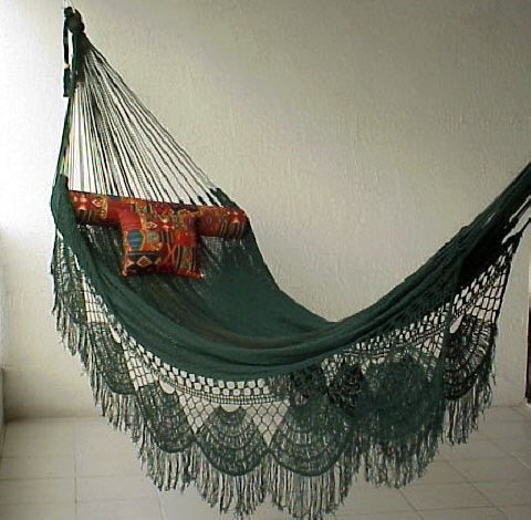 FAMILY HAMMOCK - Large Sprang-Woven Nicamaka - Hunter Green