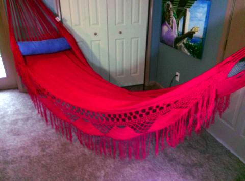 FAMILY HAMMOCK - Large Sprang-Woven Nicamaka - Red