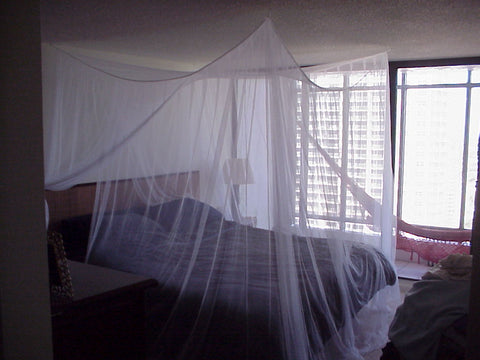 Manila Travelers No-See-Um 4 Point Bed Canopy Mosquito Net SEWN SIDE PANELS