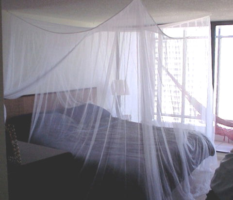 Manila Travelers No-See-Um 4 Point Bed Canopy Mosquito Net with NO SIDE OPENINGS