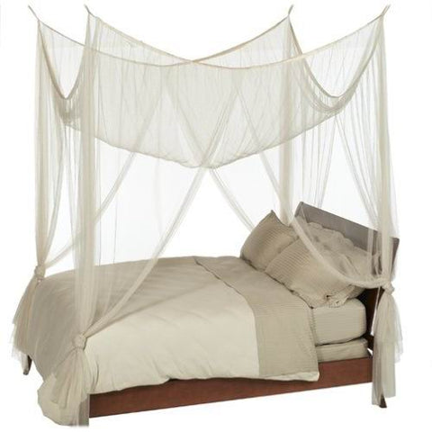 Nicamaka Casablanca 4-Point Bed Canopy Mosquito Net in IVORY