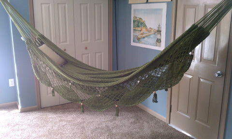 Nicamaka KEY LIME Couples Hammock - Sprang Weave