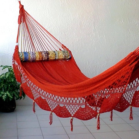 Nicamaka RED Couples Hammock - Sprang Weave
