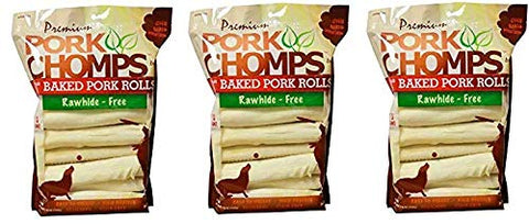 "Scott Pet 18 Count Pork Chomps Premium Baked 8"" Rolls (1 Pouch)"