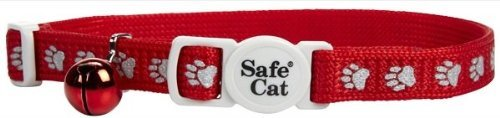 Reflective Safe Cat Collar - Red w/Paw Prints