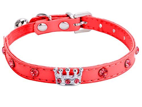 BINGPET BA3009 Soft Velvet Safe Cat Adjustable Collar with Crystal Heart Charm and Bells