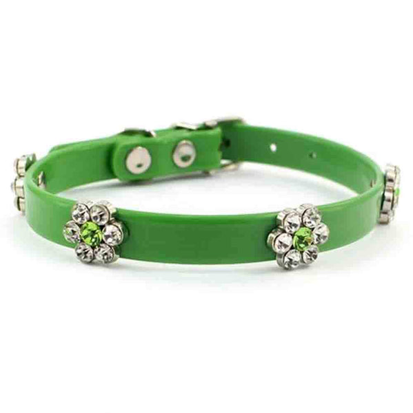 Green Fancy Rhinestone PVC Dog Collar, Crystal Dog Birthday Jewelry, Flower Cat Collar with Bling for Pets Kitten Small Dogs Girl, Clothes Costume Acc