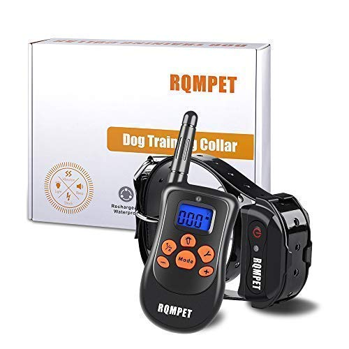 RQM Premium Grade Dog Training Collar (1000 Foot Range & 100% Waterproof) Completely Rechargeable Remote and Collar - 3 Different Modes (Light Shock,