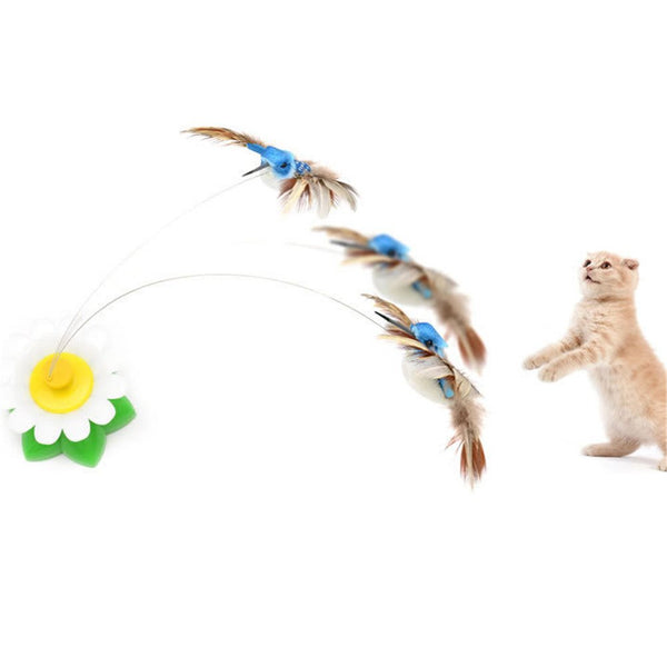 Pet Cat Teaser Toy Electric Dancing Birds with Hummingbird 360 Rotation Interactive Toys (Color Random,Without Batteries)