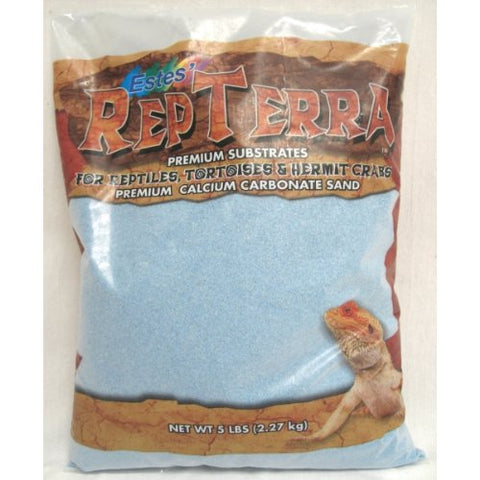 Estes Gravel Products SES60205 5-Pack RepTerra Reptile Calcium Carbonate Sand, 5-Pound, Blue