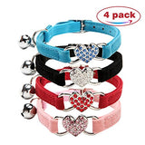 CHUKCHI Heart Bling Cat Collar with Safety Belt and Bell 8-11 Inches