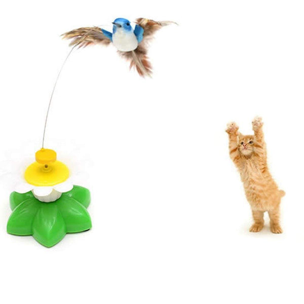 ZIYAN Bird Toy for Pet Cats, Funny Rotating Electric Flying Bird Interactive Toy with A Fastening Tape, Multicolor
