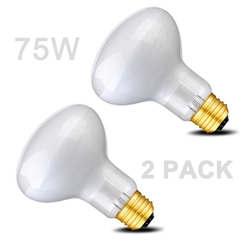 Wuhostam 75W Basking Spot Lamp UVA Glass Heat Bulb Soft White Light for Reptile Tortoise Lizard, 2 Pack