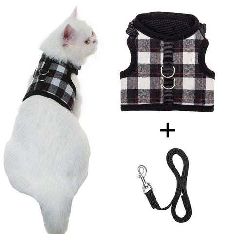Escape Proof Cat Harness with Leash - Holster Style Adjustable Soft Mesh - Best for Walking