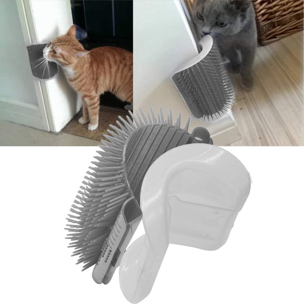 Dr.NONO Self Groomer with Catnip Pouch,Cat Self Groomer Wall Corner Massage Groomer Cat Self Grooming Brush