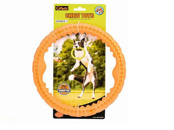 Elite Frisbee Dog Dentals Chew Toy Ring Aggressive Tougher Chewers Durable Pet Flying Discs Toy Mango Flavor TPR Material,Orange