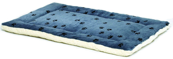 Reversible Paw Print Pet Bed in Blue & White Synthetic Fur for Dogs & Cats