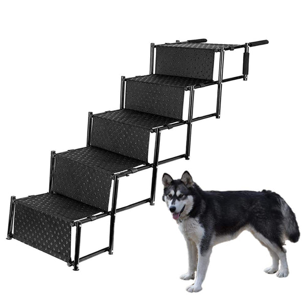 Upgraded Pet Dog Car Step Stairs, Accordion Metal Frame Folding Pet Ramp for Indoor Outdoor Use, Lightweight Portable Auto Large Dog and Cat Ladder fo