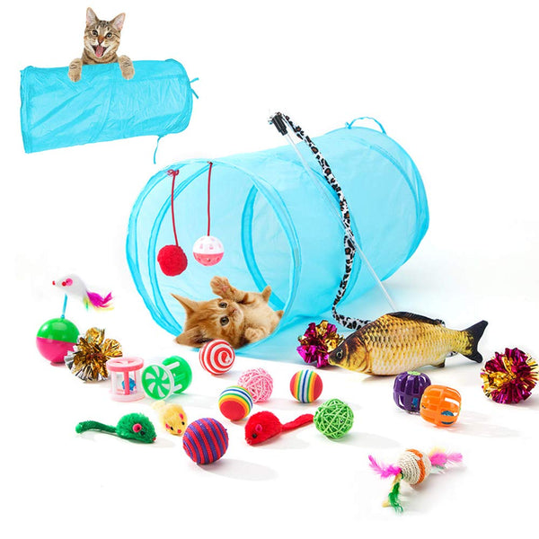HIPIPET 21PCS Cat Toys Interactive Kitten Toys Assortments Tunnel Balls Fish Feather Teaser Wand Mice