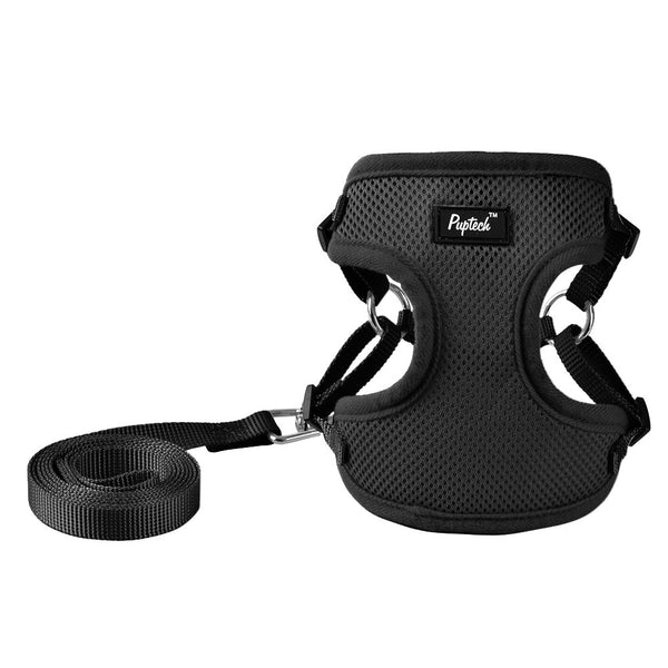PUPTECK Harness for Small Dogs - Leash Set Adjustable Soft Mesh Pet Vest for Walking Black