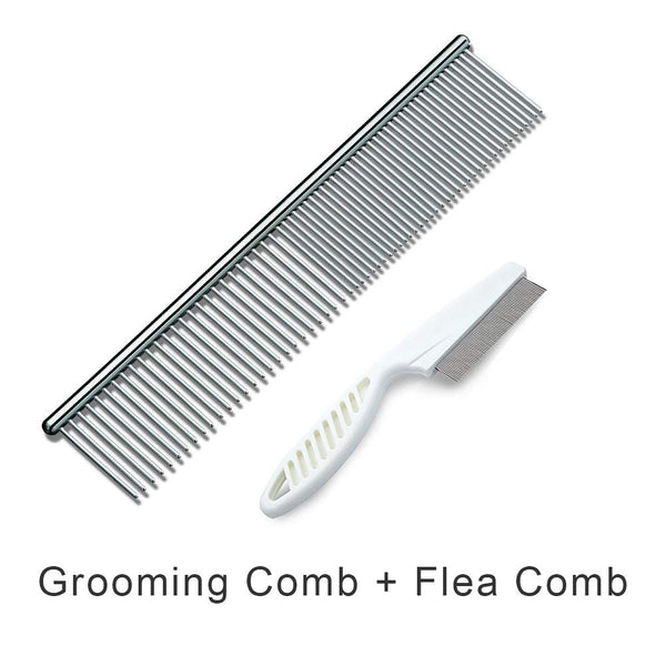 MESIMME Pet Stainless Steel Grooming Dog Comb and Dog Cat Flea Comb