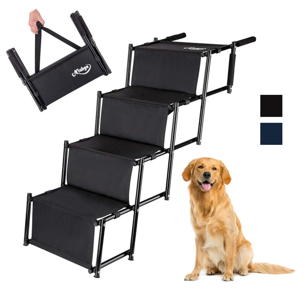 Niubya Folding Car Dog Steps Stairs, Lightweight Accordion Portable Rustproof Metal Frame 4 Pet Steps Ladder with Durable Waterproof Ballistic Nylon,