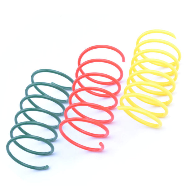 60 Pack Cat Spring Toy Plastic Colorful Coil Spiral Springs Pet Action Wide Durable Interactive Toys
