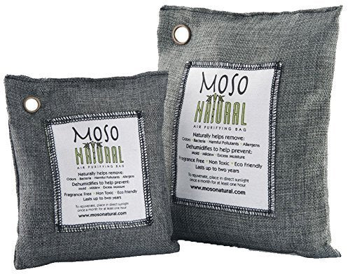 Moso Natural Air Purifying Bag. Bamboo Charcoal Air Freshener, Deodorizer, Odor Eliminator, Odor Absorber For Cars and Home. 200g 500g Charcoal Color