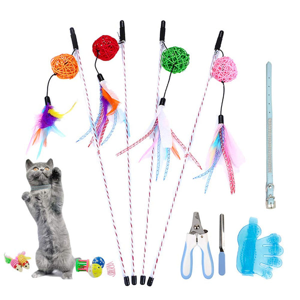 Whoobee Cat Toys Kitten Toys Assortments, Variety Pack for Catnip Toy, Cat Tunnel, Bell Crinkle Balls, Feather Wand, Cat Teaser Toy and Spring, Cat To