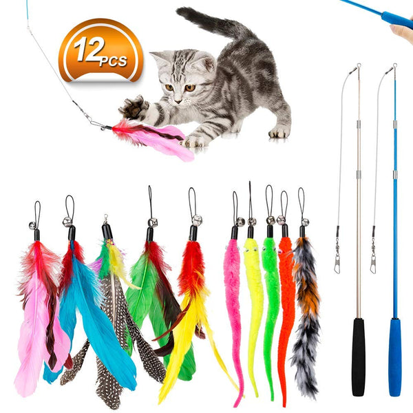 JIARON Feather Teaser Cat Toy, 2PCS Retractable Cat Wand Toys and 10PCS Replacement Teaser with Bell Refills, Interactive Catcher Teaser and Funny Exe