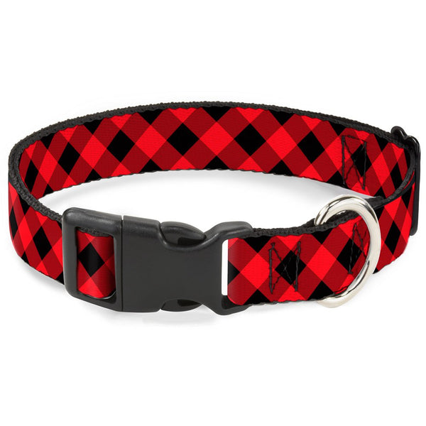 "Buckle-Down Plastic Clip Collar - Diagonal Buffalo Plaid Black/Red - 1/2"" Wide - Fits 9-15"" Neck - Large"