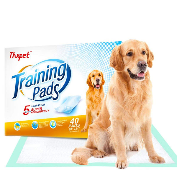 "Thxpet Pet Puppy Training Pads 40 Count 28""x 34"" Dog Pee Potty Pad Wee Wee Pad Super Absorbent Leak Proof"