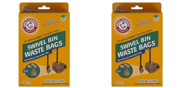 Arm & Hammer Swivel Bin Waste Bags, 20 Count, 2 Pack