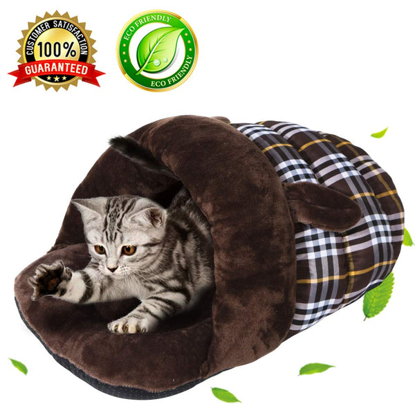 BiBOSS Plush Cat Cave Cat Bag Soft Warm Cat Bed Condo Cat Sleeping Bag Cozy Cat House Pet Mats for Cat Kittens Puppy Rabbit Small Animals