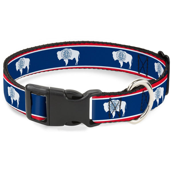 "Buckle-Down Plastic Clip Collar - Wyoming Flags Bison Silhouette - 1/2"" Wide - Fits 9-15"" Neck - Large"