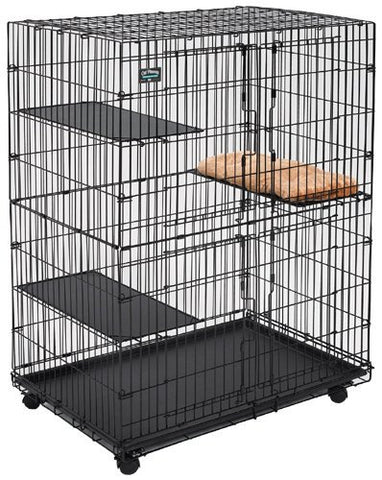 Midwest Cat Playpen | Cat Cage Includes 3 Adjustable Perching Shelves & 1 Shelf-Attaching Cat Bed & Wheel Casters | Ideal for 1-2 Cats | Cage Measures