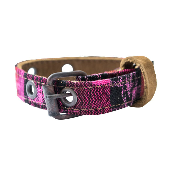 Mayan Pet Collar For Cats & Small Size Dogs (8.25 - 12.25 Inches) Handmade by Hide & Drink :: Tropical Fuchsia