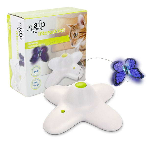 ALL FOR PAWS AFP Spinning Teaser Toy Rotating Shiny Butterfly with Two Replacement Flashing Butterflies Cat Toy