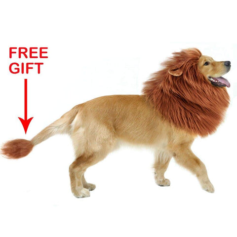 GABOSS Lion Mane Costume for Dog, Dog Lion Wig for Dog Large Pet Festival Party Fancy Hair Dog Clothes