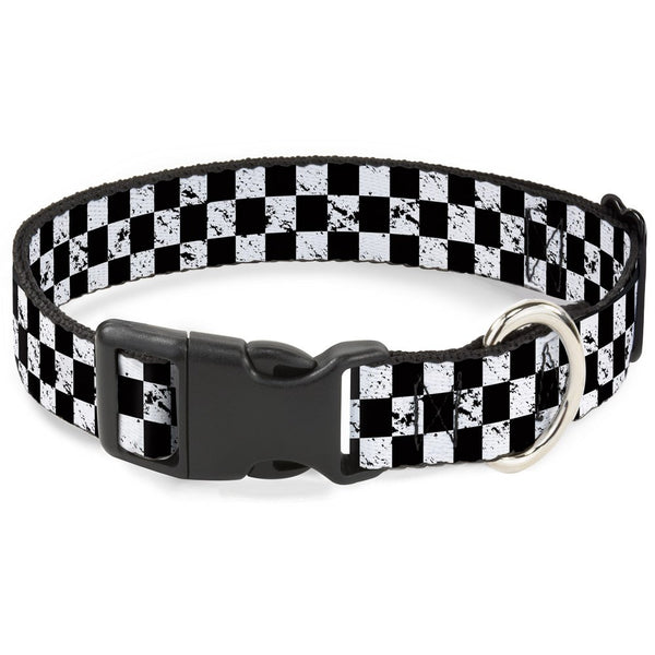 "Buckle-Down Plastic Clip Collar - Checker Weathered2 Black/White - 1/2"" Wide - Fits 9-15"" Neck - Large"